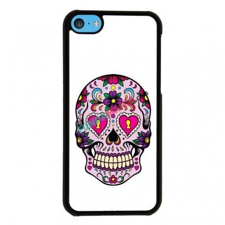 Funda Iphone 5C calavera ojos rosa