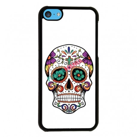 Funda Iphone 5C calavera mexicana ojos verdes