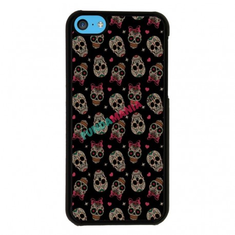 Funda Iphone 5C calaveras lazo rosa