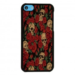 Funda Iphone 5C calaveras y rosas