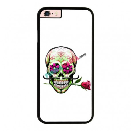 Funda Iphone 6 Plus Iphone 6s Plus calavera mexicana con flor en la boca