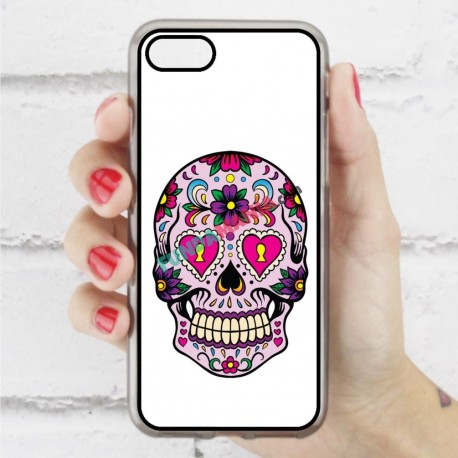 Funda Iphone 7 calavera mexicana ojos rosa