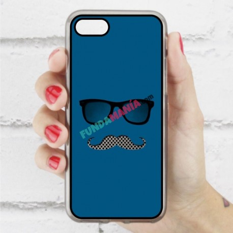 Funda Iphone 7 hipster bigote y gafas
