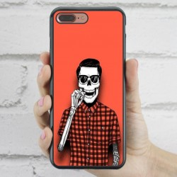 Funda iPhone 7 Plus Hipster Calavera fumando